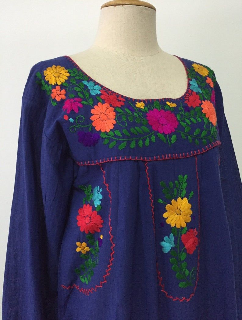 Long Sleeve Embroidered Dress Cotton Tunic In Blue Mexican Style Dress Boho Dress Long Sleeve Embroidered Dress Embroidered Dress Mexican Style Dresses [ 1048 x 794 Pixel ]
