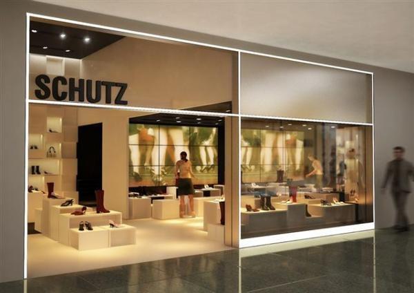 47d5f5144 Loja Schutz Fachada loja schutz Joinville Shopping Fachada aço  inox,mezanino.