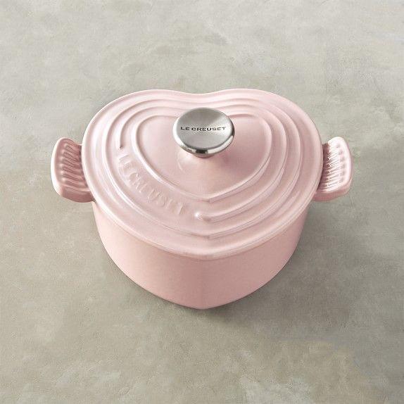 Le Creuset Cast-Iron Heart-Shaped Dutch Oven, Pink, 2-Qt.