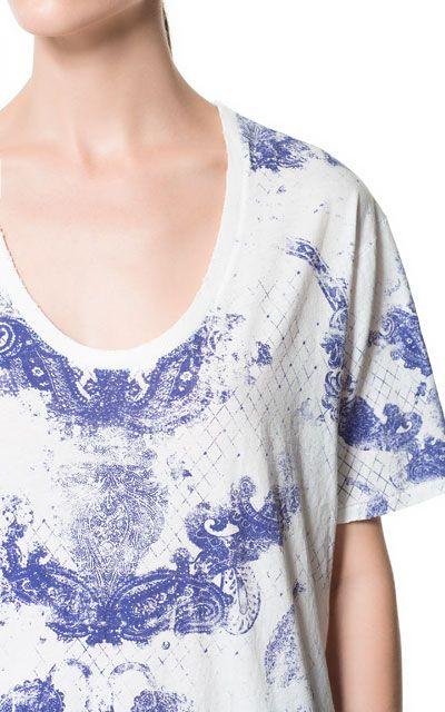 BLUE PRINTED T-SHIRT - T-shirts - Woman - ZARA United States