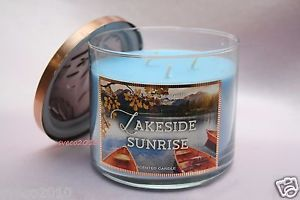 BATH & BODY WORKS HOME LAKESIDE SUNRISE 14.5 OZ 3-WICK GREAT SCENTED CANDLE