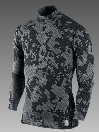 Nike Pro Combat Hyperwarm Camo Mock Neck Mens