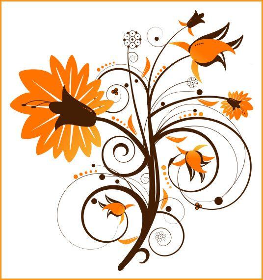 Fall Flowers Clip Art | PSP tube download. Floral Swirl Flower ...
