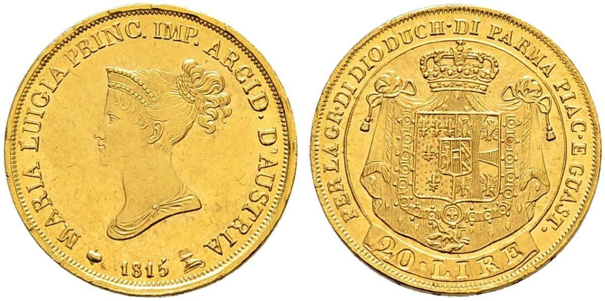 NumisBids: SINCONA AG Auction 29, Lot 1700 : ITALIA Parma Maria Luigia d'Austria, 1815-1847. 20 Lire...