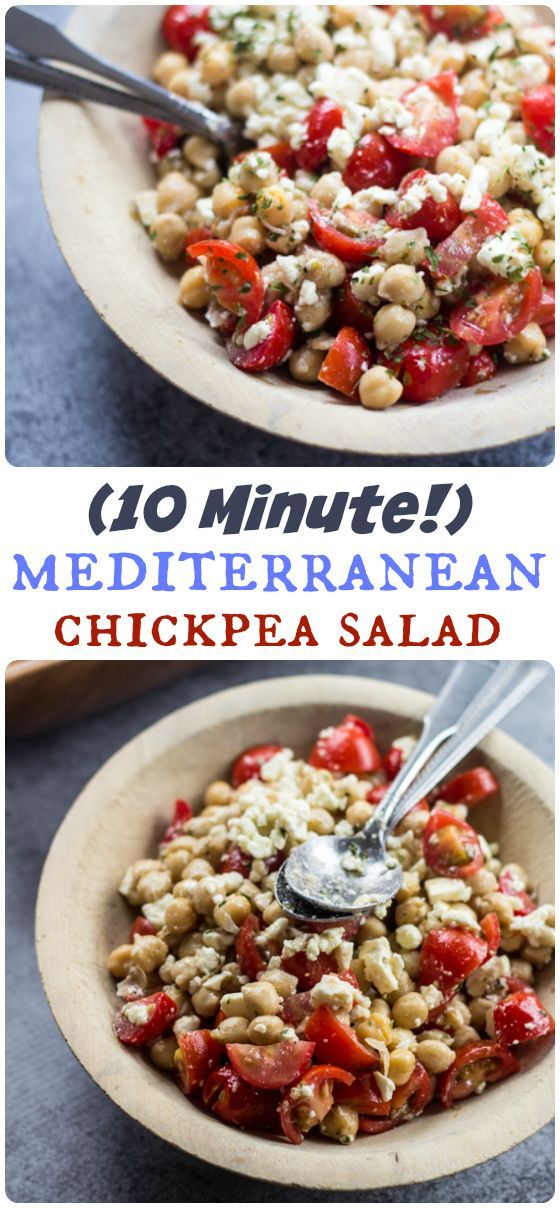Ripe tomatoes, rich olive oil, and high-quality Feta cheese give this quick and easy Mediterranean Chickpea Salad an abundance of bright flavor!