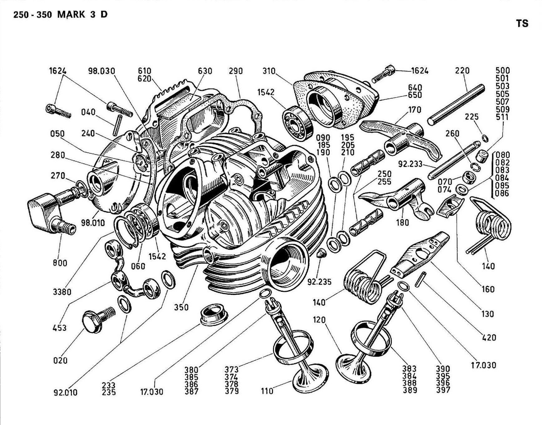 Ducati Single 250 350 Mark 3 Desmo Head