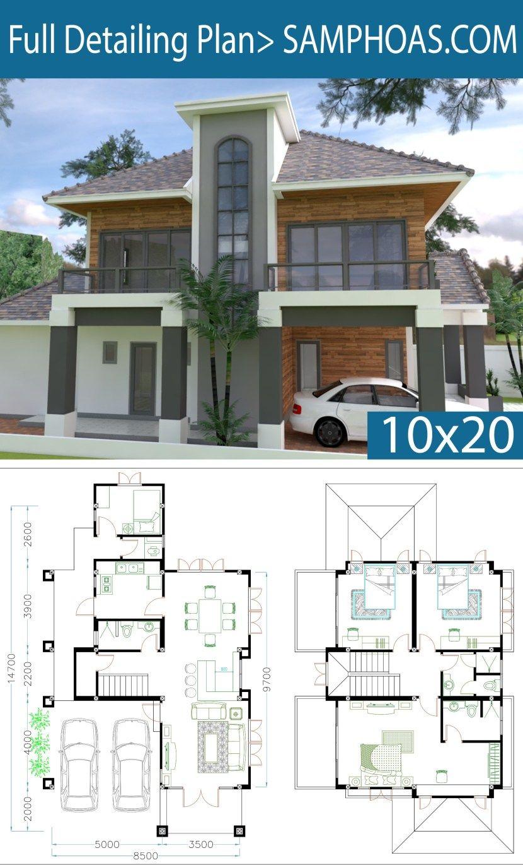 4 Bedrooms Home Plan 8 5 14 7m Samphoas Plan Architectural House Plans House Plans Bungalow House Plans