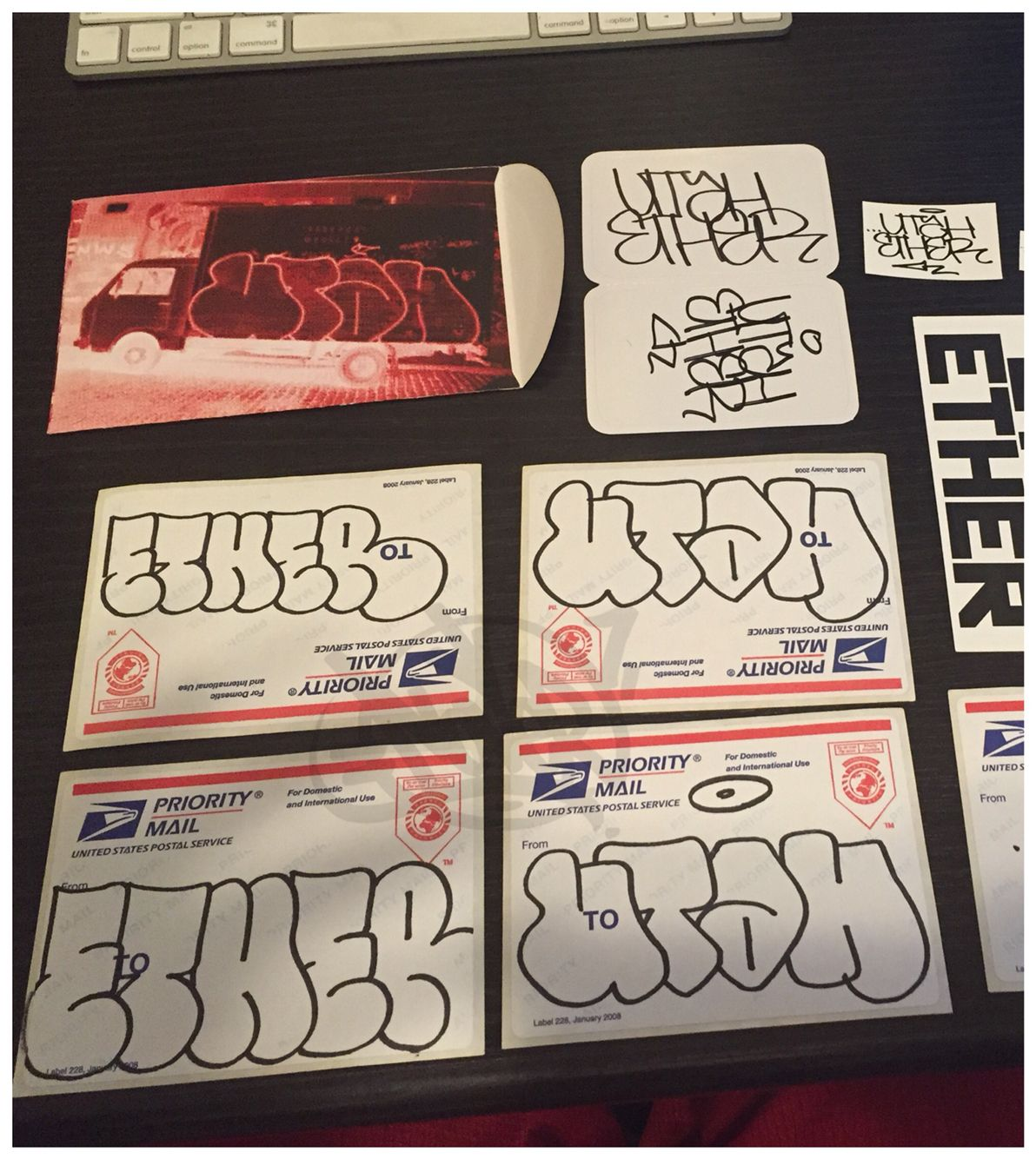 Ether and Utah stickers #228label #handmade #throwie #handstyle #graffiti  #ether