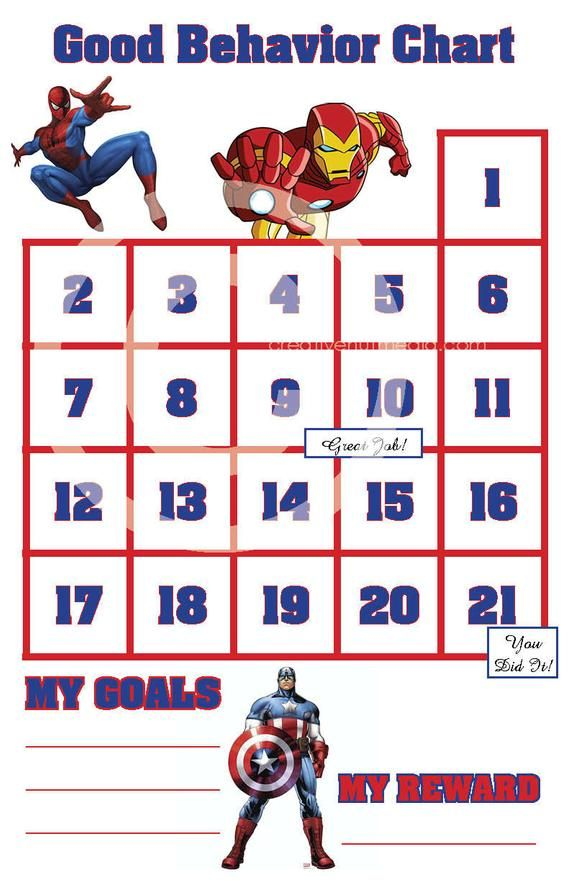 Good Behavior Avengers Sticker Chart / Spiderman / Ironman