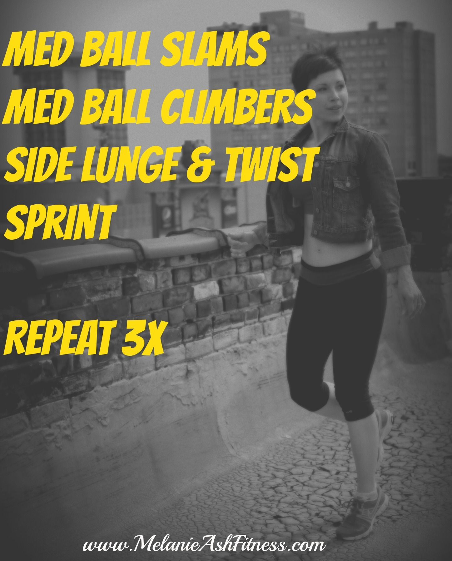 A fun, fast #fatburning #workout to take your cardio off the machine! Do :30 of each move, then rest for 1:00 between circuits.  www.melanieashfitness.com