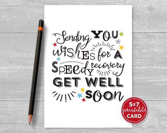 Printable Get Well Card Sending You Wishes For A Speedy Etsy In 2021 Get Well Cards Printable Envelope Template Get Well Soon Card