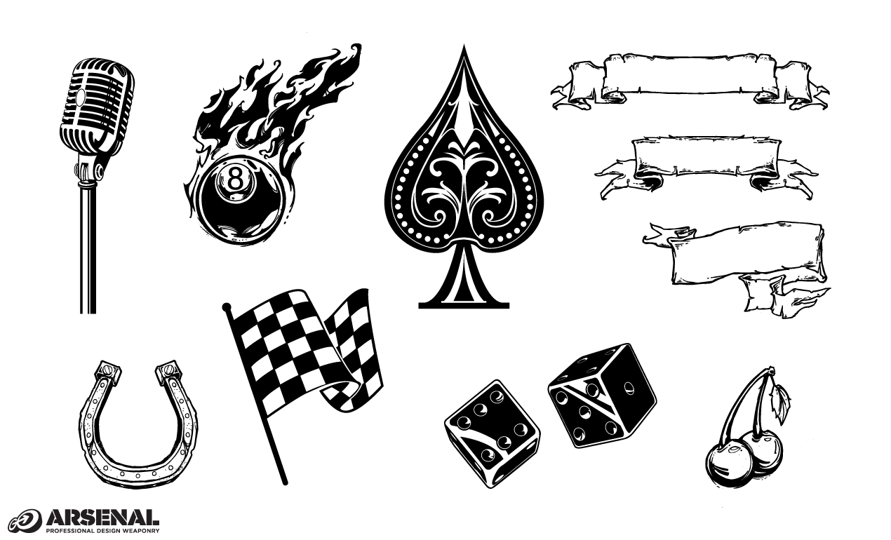 rockabilly icons vector pack by go