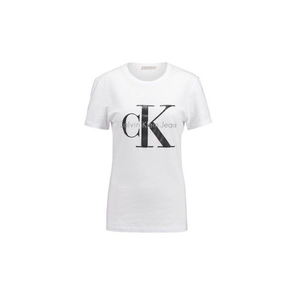 Calvin Klein Jeans T-shirts print bright white ❤ liked on Polyvore featuring tops, t-shirts, print tee, calvin klein tops, print tops, calvin klein t shirts and pattern tops