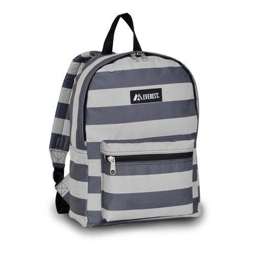 Stripes backpack   15.00   Bag size • 15 x 11 x 5 in.                                              •midsize backpack • main compartment •front zipper pocket