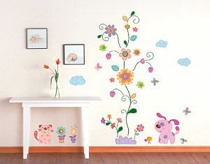 Perfect For A Baby Girl. Flower And Puppy Wall Decals And Stickers For Kids  Rooms