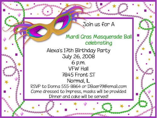 image relating to Free Printable Mardi Gras Invitations named Great Cost-free Template Mardi Gras Birthday Bash Invites