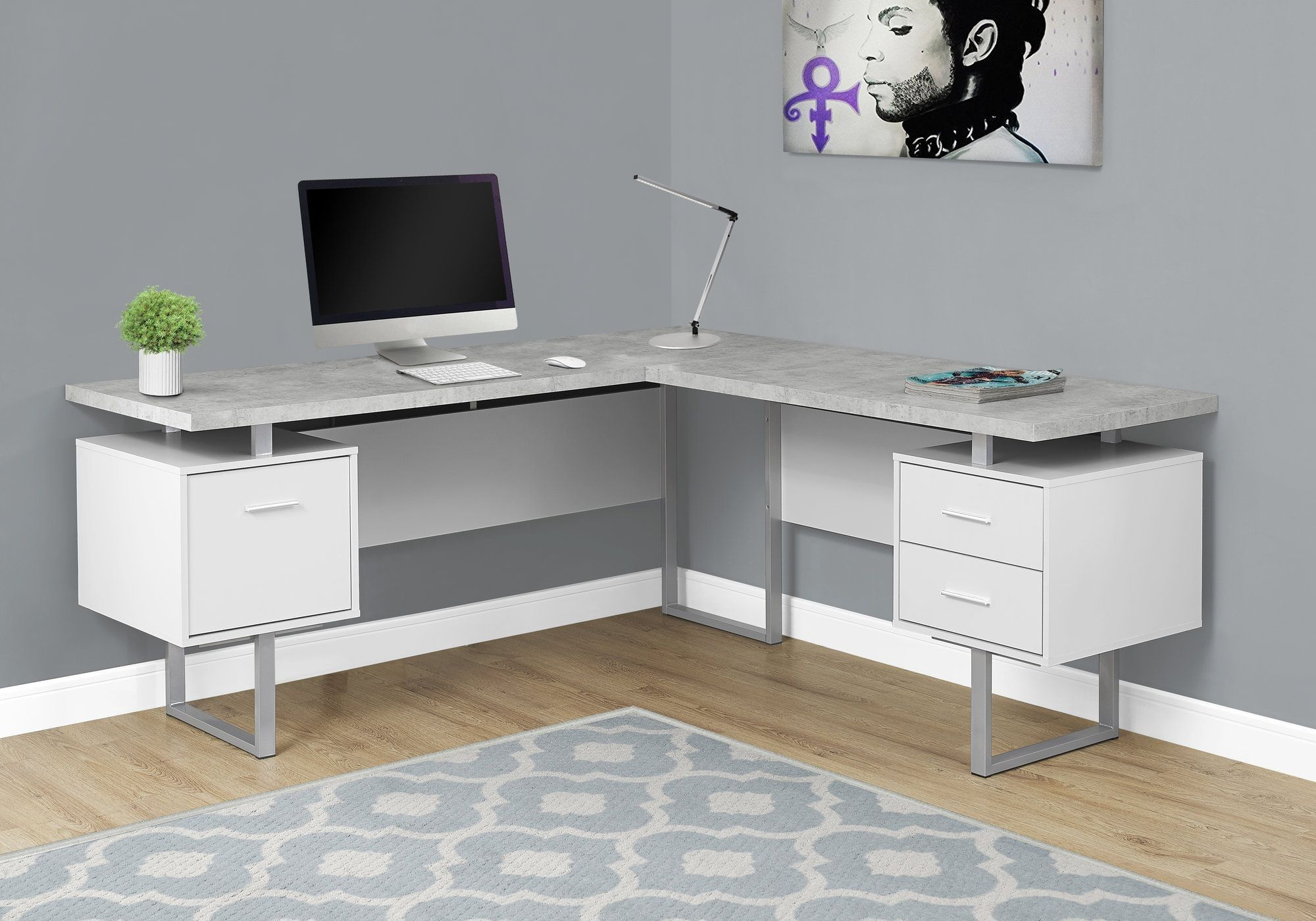 I bureau en coin blanc simili ciment office
