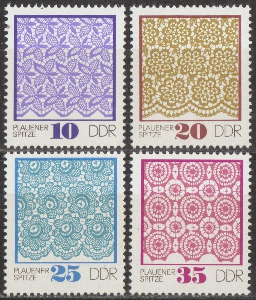 EAST GERMANY DDR GDR 1974 MNH STAMP SET - PLAUEN LACE (PATTERNS) (want)