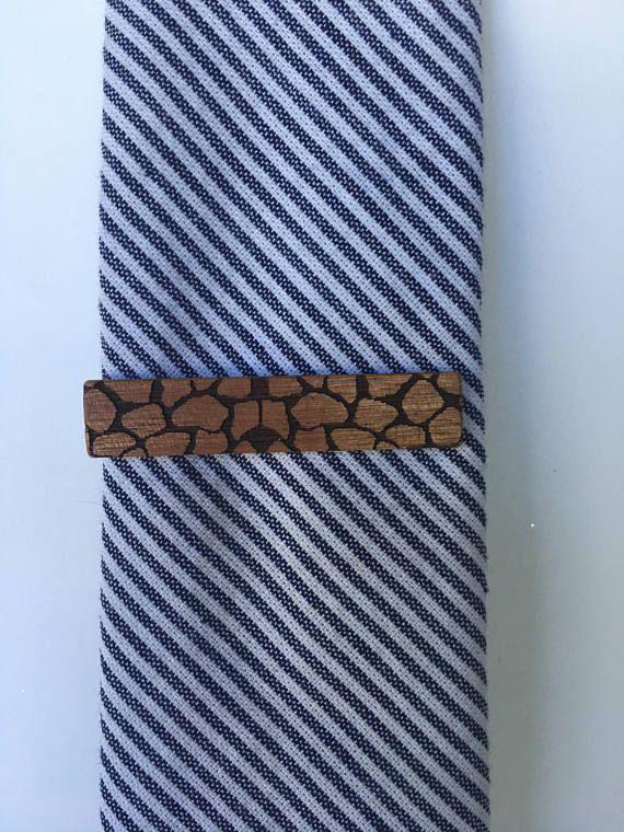 Giraffe Print Tie Clip  tie clip  wood tie clip  giraffe