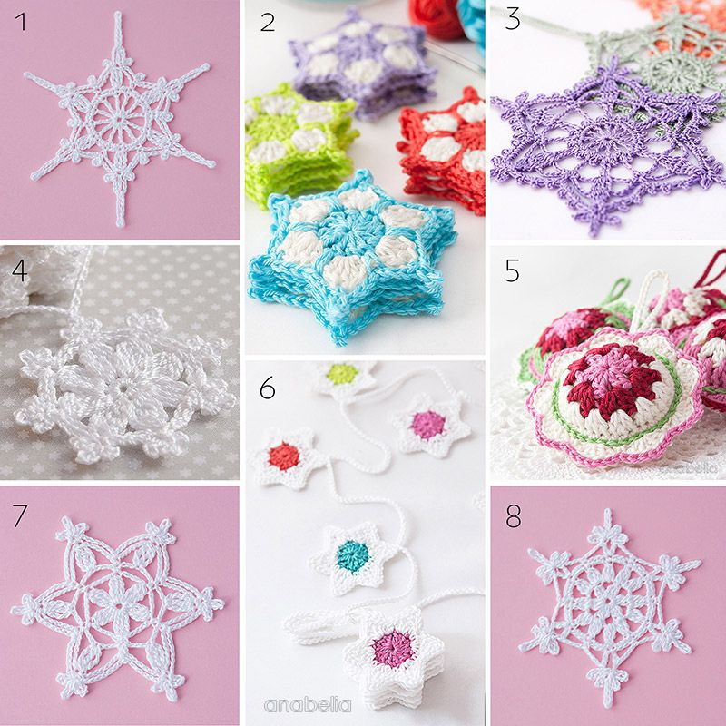 8 Christmas crochet ornaments and stars patterns by Anabelia Craft Design
