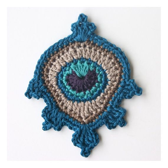 Crochet Peacock Feather Applique or Motif in blue - my original ...
