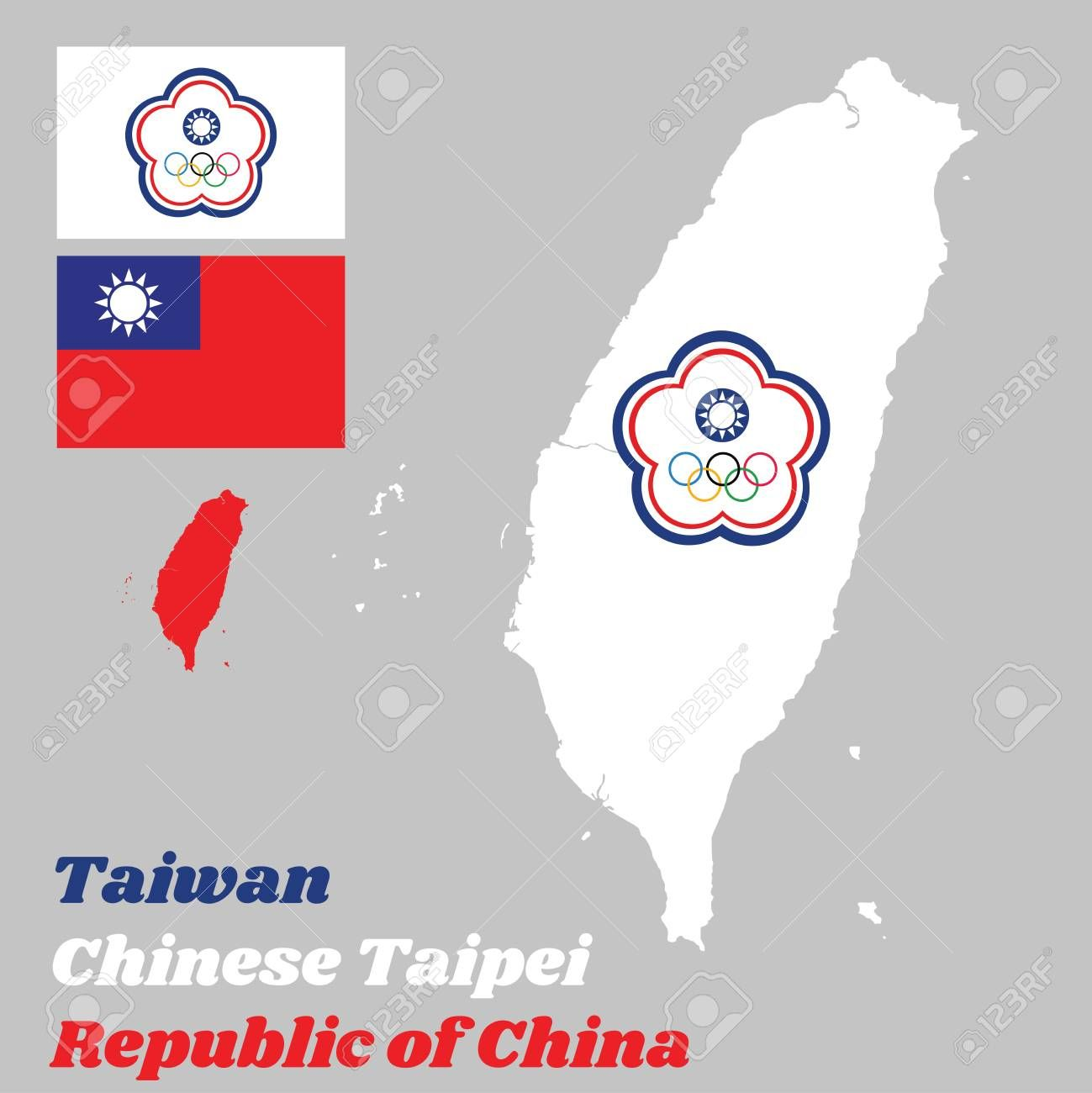 Map Outline Of Taiwan Or Chinese Taipei The Chinese Taipei Olympic Flag And Flag Of The Republic Of China With Text Republic Of China Sponsored Chinese