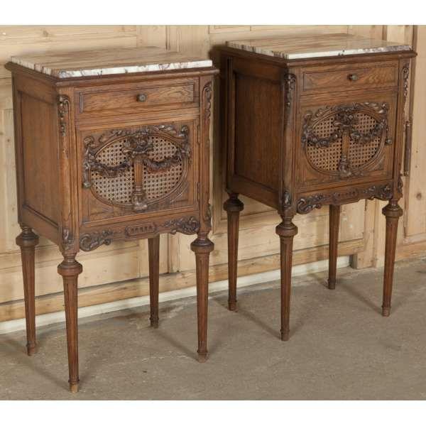 Antique Furniture | Antique Bedroom Furniture | Nightstands | Pair Antique  French Louis XVI Nightstands | - Antique Furniture Antique Bedroom Furniture Nightstands Pair