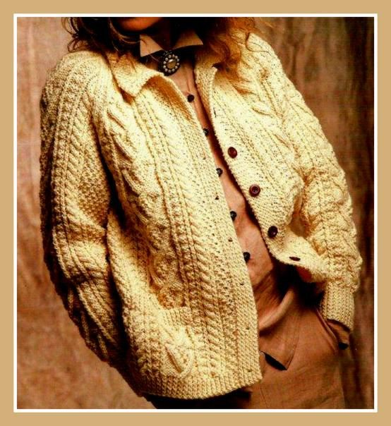 Knitting pattern ladies jacket cardigan Aran Vogue design also as a PDF download