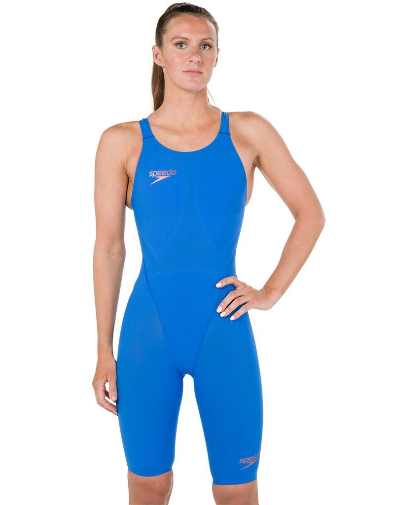 3a348ab9997e4 The FINA approved womens Speedo Fastskin LZR Racer Element Openback Kneeskin  creates a streamlined shape in the water to reduce drag in the water.