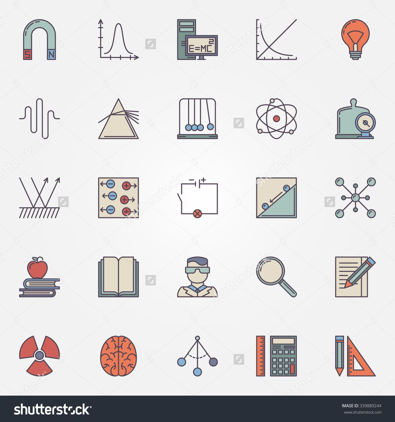 Stock Vector Physics Flat Icons Set Vector Colorful