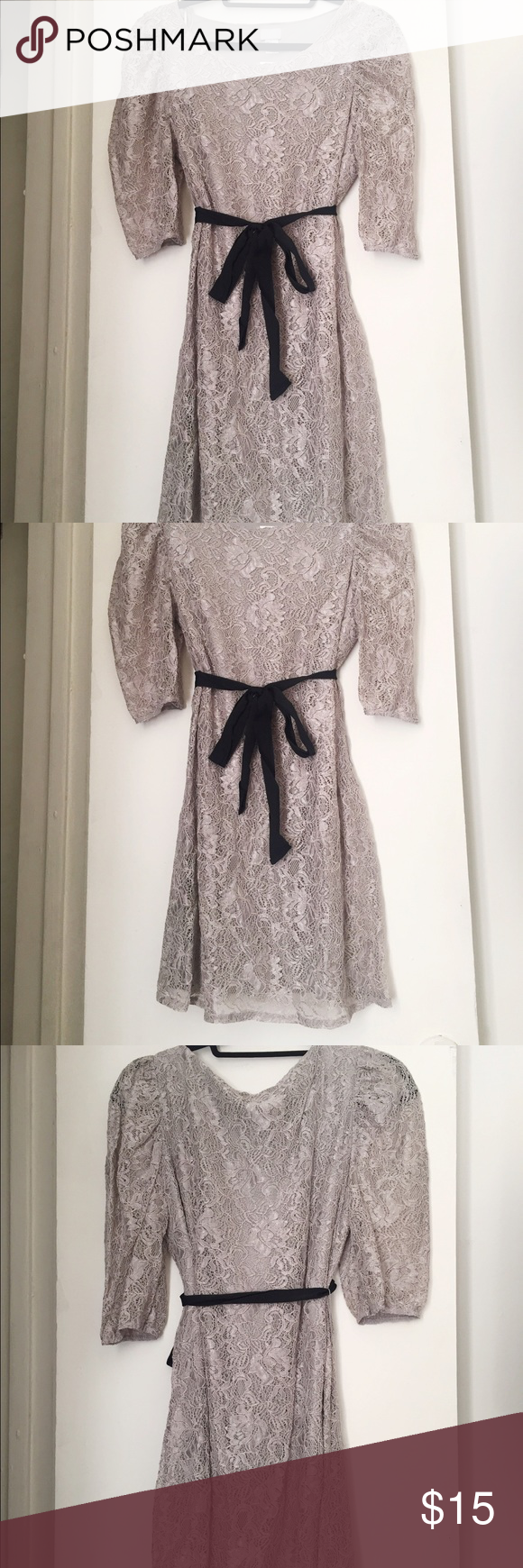 Grey lace long sleeve dress Beautiful grey lace H&M dress. All-over lace with 3/4 length sleeves. Black ribbon belt included, can wear with or without it. Hits mid-thigh - length is 31 inches from neck to hem. Never worn, NWT. H&M Dresses Long Sleeve