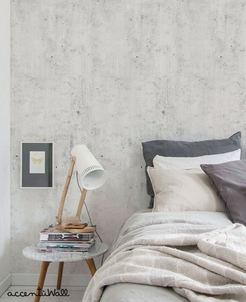 Cement Concrete Light Grey Peel Stick Fabric Wallpaper Repositionable En 2020 Lamparas De Concreto Empapelados Pared Papel De Colgadura