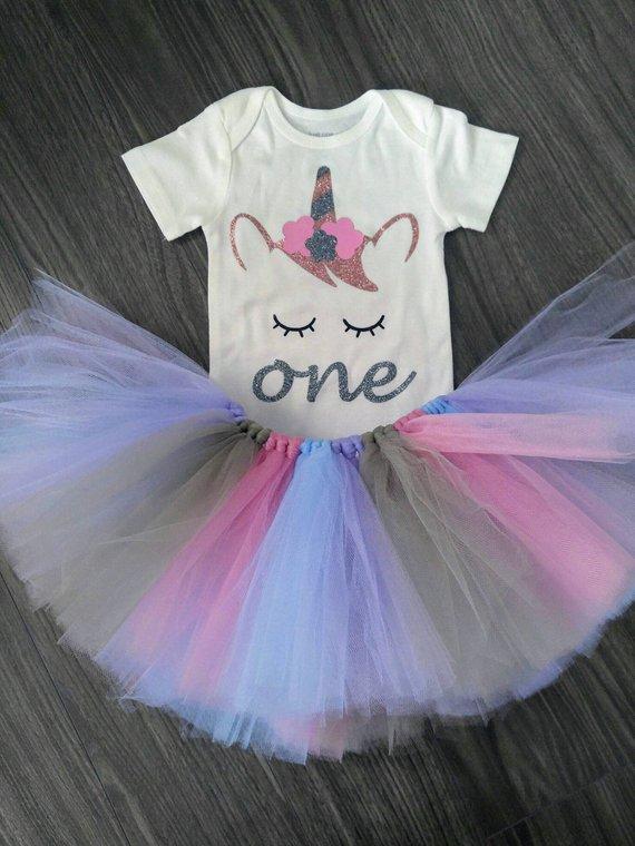 847cb43fd1511 Unicorn 1st birthday outfit, Unicorn onesie, Pink-Lavender-light ...