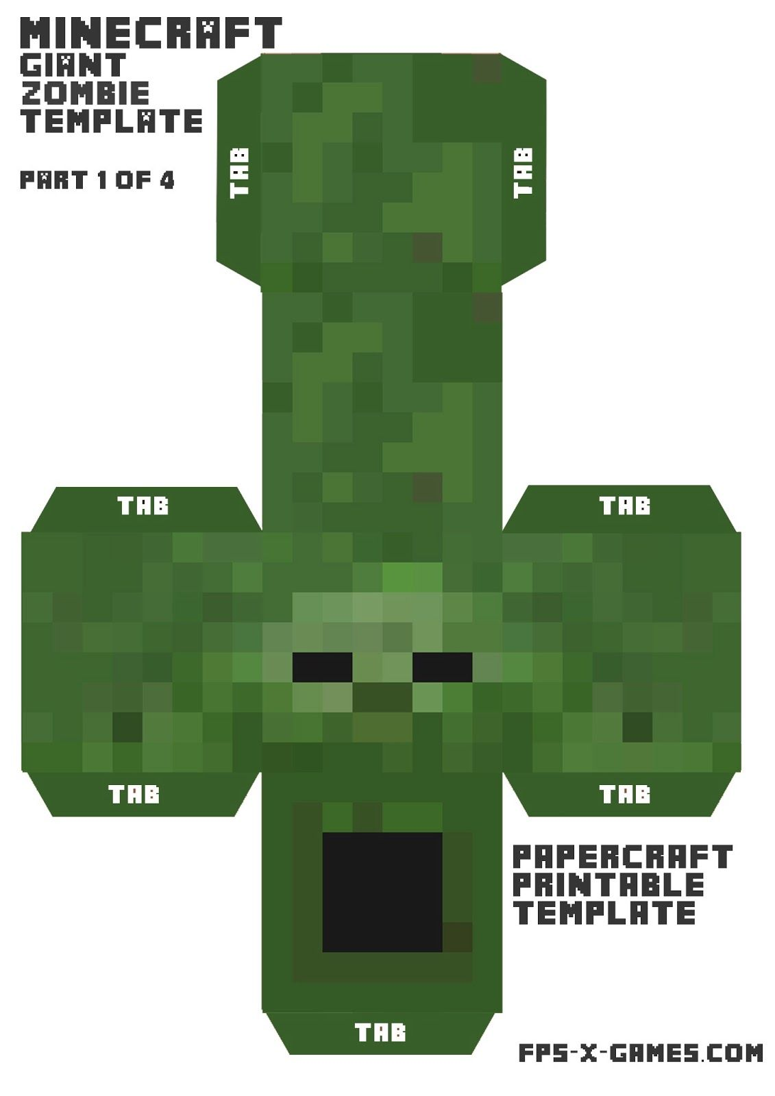 FPSXGames: Minecraft zombie large printable cutout character