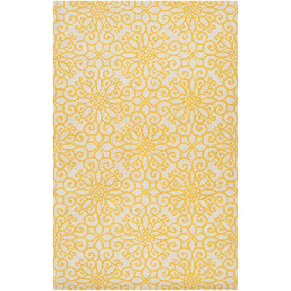 Hand-tufted YellowSuzani Sunflower Yellow Geometric Medallion Wool ...