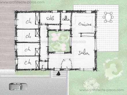 P> Plan De Maison Ordonnancée Sur Un Patio Central Définissant
