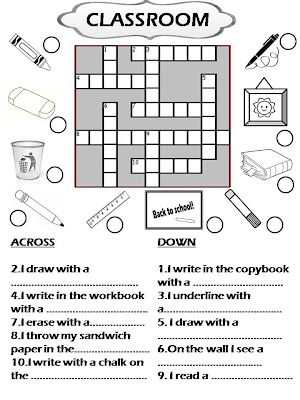 photograph about Back to School Crossword Puzzle Printable called CLASSROOM Goods (CROSSWORD) Clroom Coaching english