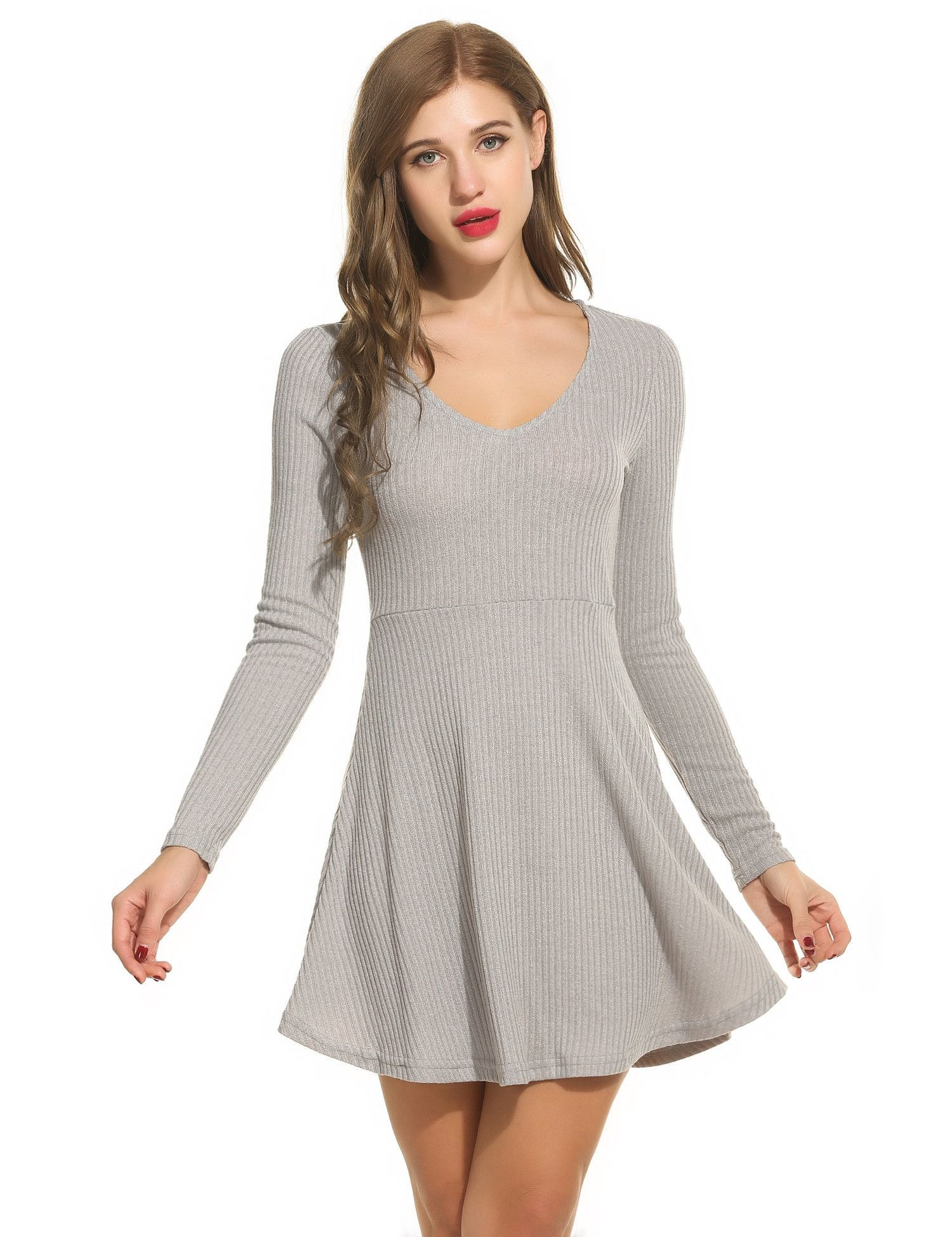 Gray women vneck long sleeve solid fit and flare mini