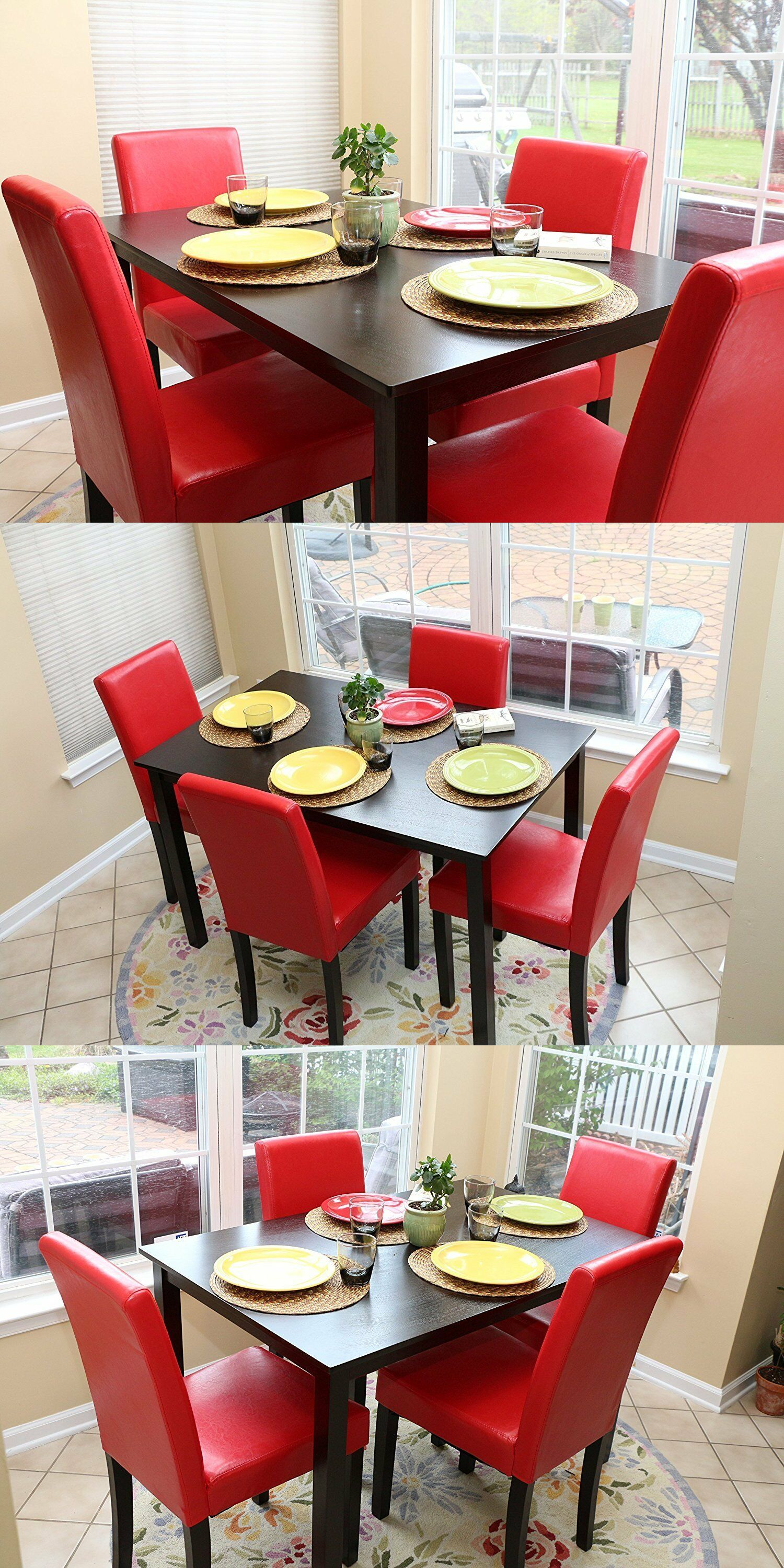 Dining Sets 107578 5 Pc Red Leather 4 Person Table And Chairs Red Dining Dinette Buy It Now Only Table And Chairs Formal Dining Tables Glass Dining Table