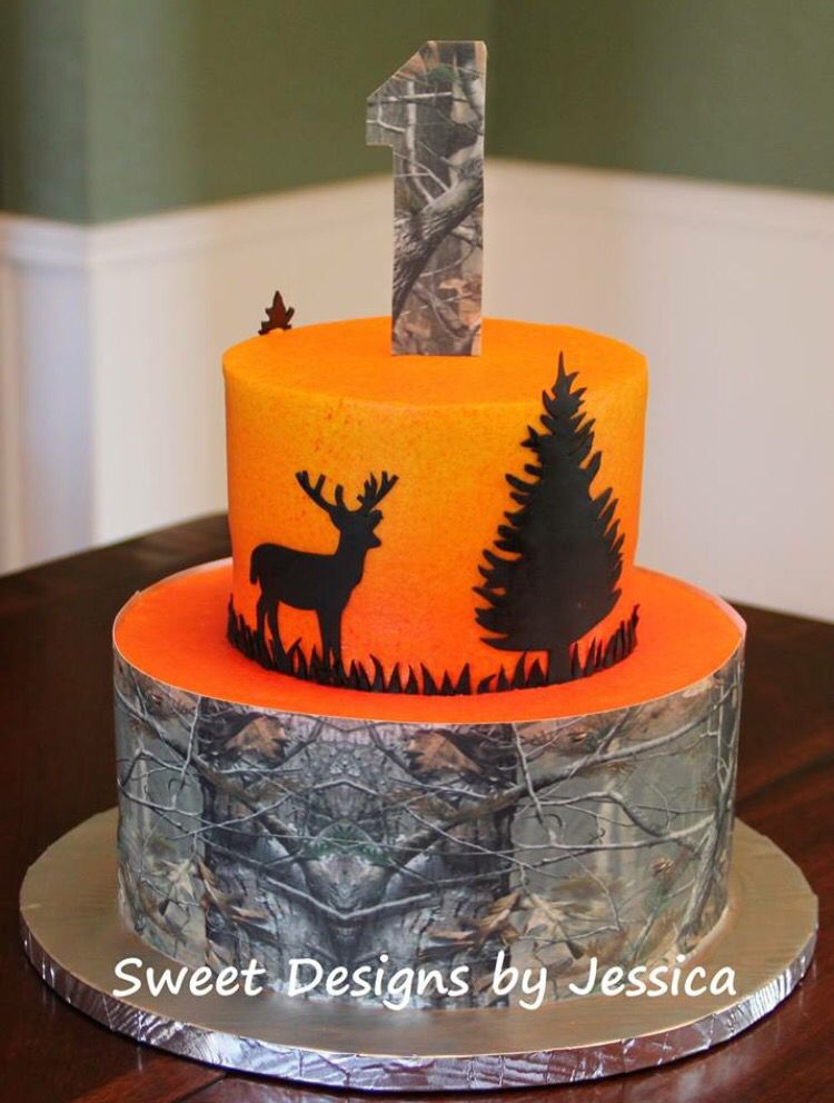 Cool Hunting Themed 1St Birthday Cake Hunting Birthday Cakes Hunting Funny Birthday Cards Online Barepcheapnameinfo