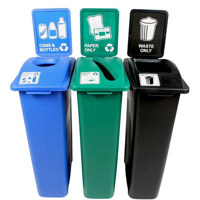 23 Gallon Large Simple Sort Triple Recycling Station Recycling Bins Recycling Station Trash And Recycling Bin