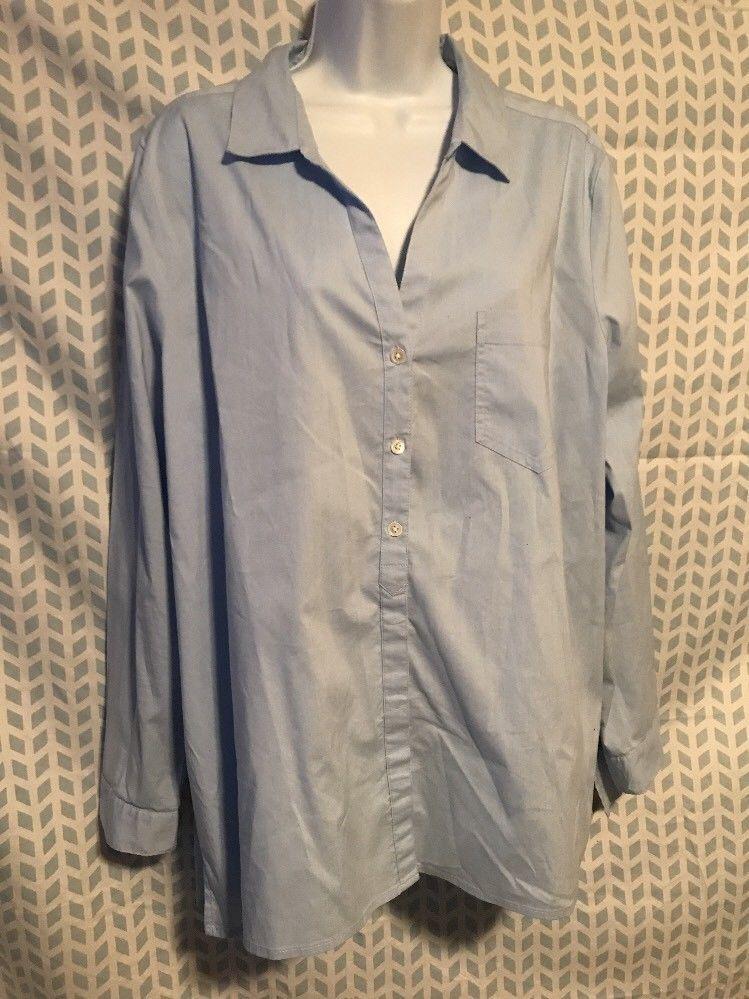 c8ec7b8f827 J. Jill XL Light Blue Button Down Career Shirt Long Sleeve