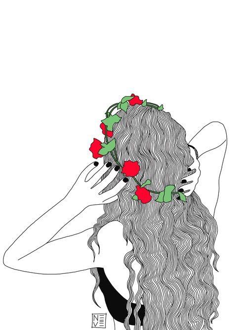 Image via We Heart It #drawing #flowercrown