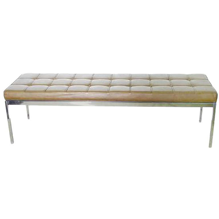 Vintage Steel Bench With Tan Leather Top By Florence Knoll From