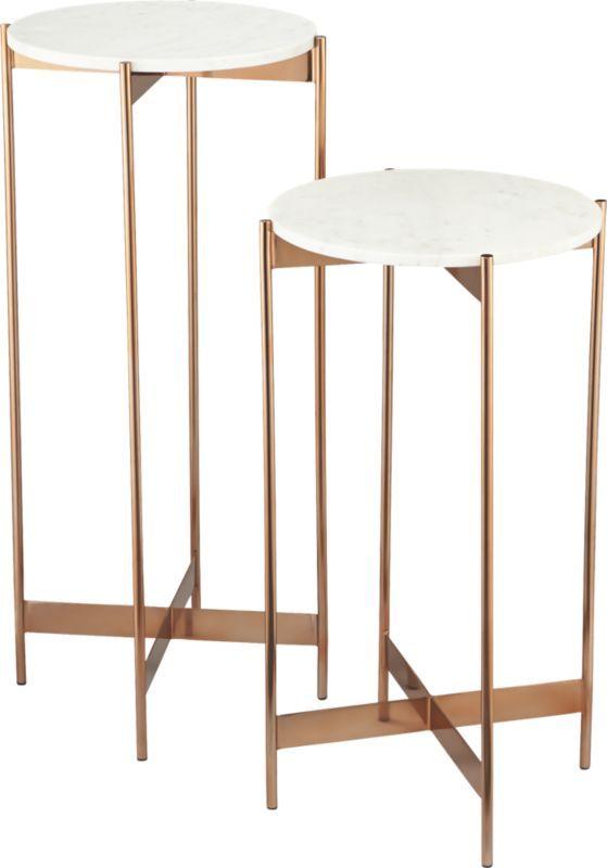 Marble Rose Gold Pedestal Tables