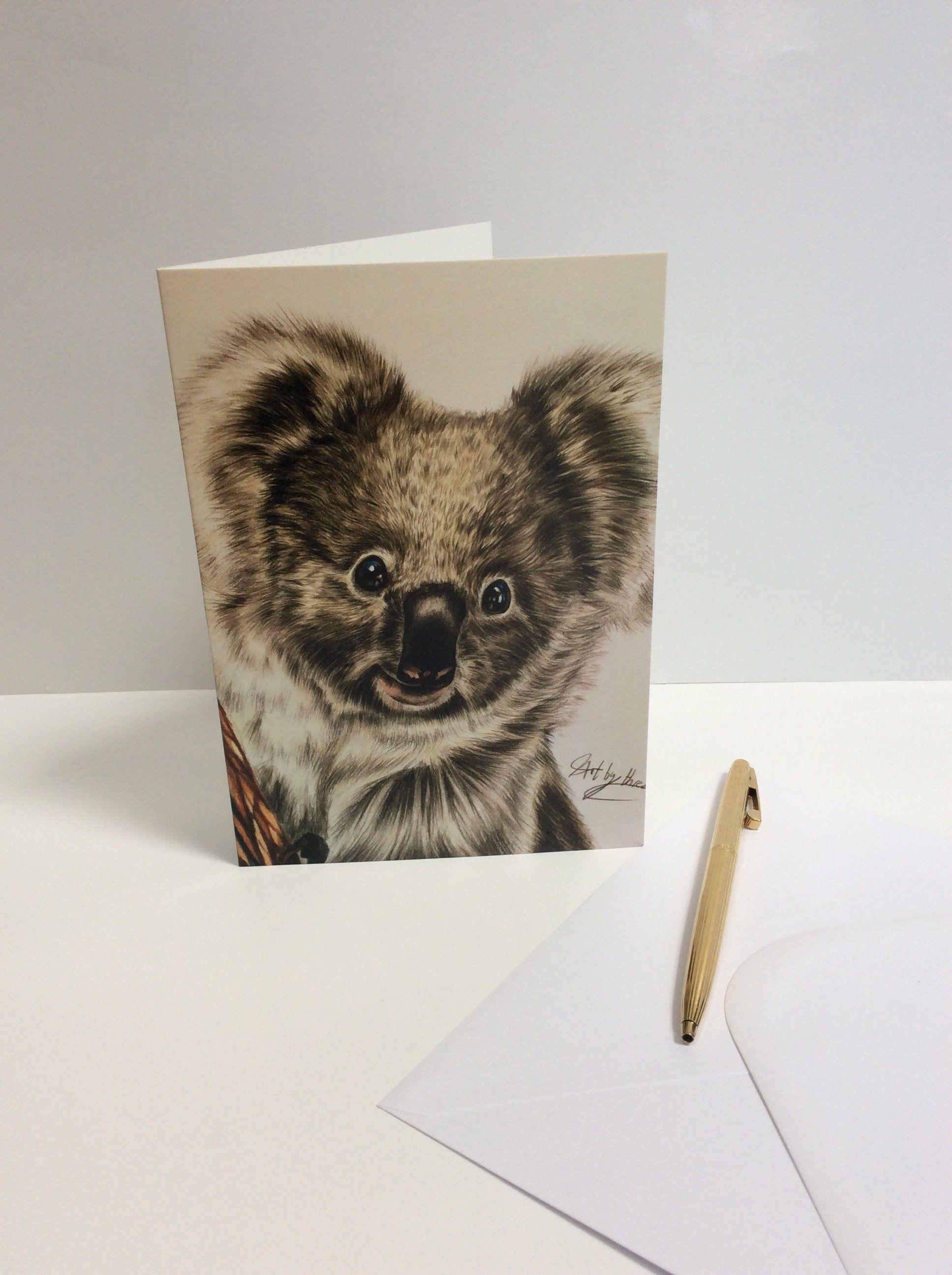 Koala Bear Card Koala Greeting Card Cute Animal Blank Wildlife
