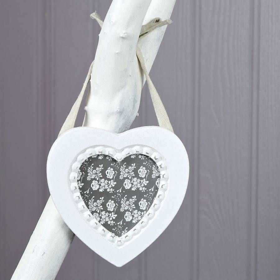 White Hanging Heart Photo Frame   Stuff to Buy   Pinterest   Hanging ...