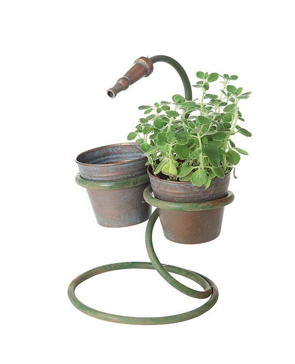 Hidden Garden Home Decor Metal Flower Pots With Decorative Hose Rustic Planters Metal Flower Pots Metal Planters