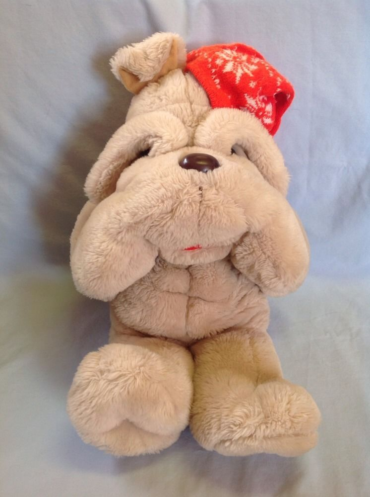 Commonwealth Target 1984 Jumbo Plush Tan Bulldog Dog Red Snowflake