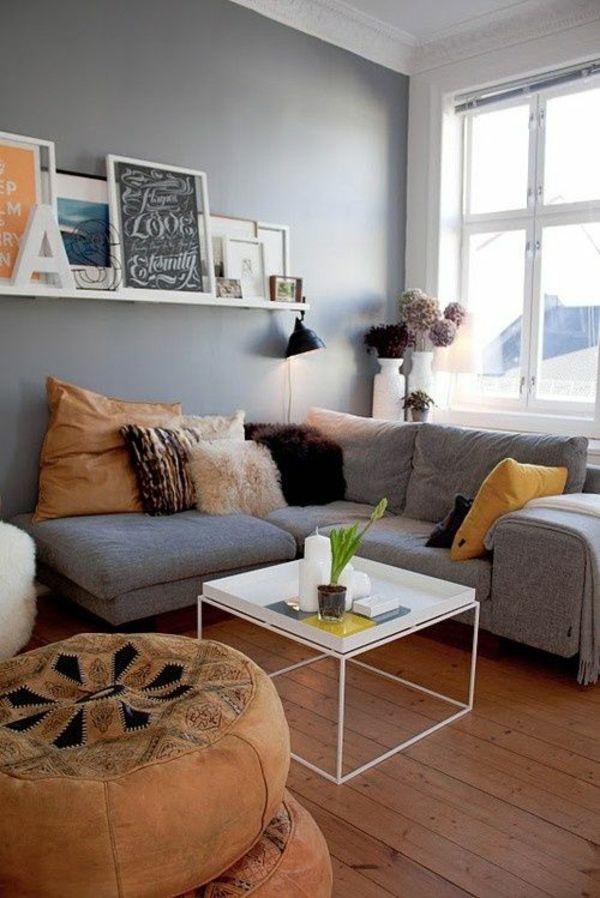 Wohnzimmereinrichtung Ideen Rot Wand Sofa Bunt